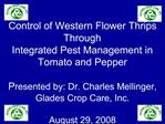 Control of Western Flower Thrips Through  Integrated Pest Management in Tomato and Pepper  Presented by: Dr. Charles Mel