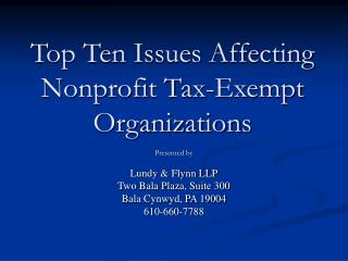 Top Ten Issues Affecting Nonprofit Tax-Exempt Organizations