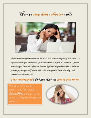 How to stop debt collector calls