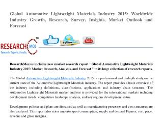Global Automotive Lightweight Materials Industry 2015 Market Research Report