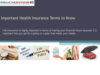 Important Health Insurance Terms