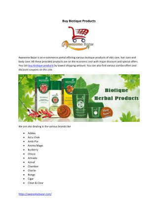 Buy Biotique Products Online from Awesome Bazar