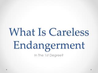 What Determines Reckless Endangerment In The First Degree?