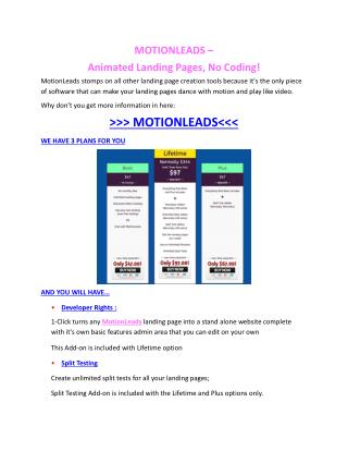 MotionLeads Review and $30000 Bonus-MotionLeads 80% DISCOUNT