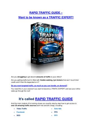 Rapid Traffic Guide  DETAIL review and GIANT Bonus