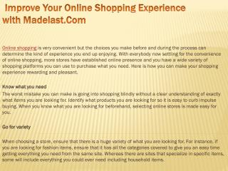Improve Your Online Shopping Experience with Madelast.Com