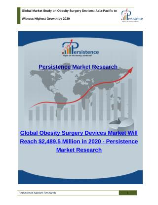 Global Obesity Surgery Devices Market - Asia-Pacific to Witness Highest Growth by 2020