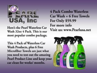 Pearl Waterless Car Wash Product USA-with 4 Pack Combo Waterless Car Wash