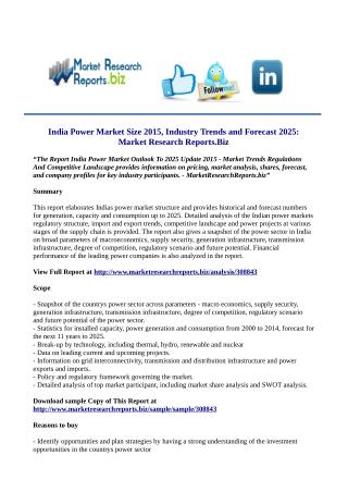 India Power Market Outlook To 2025 Update 2015 - : Worldwide Industry Share, Investment Trends, Growth, Size, Strategy A