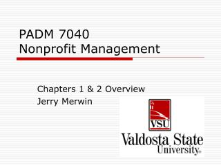 PADM 7040  Nonprofit Management