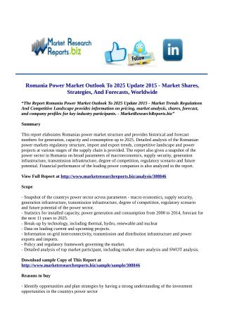 Romania Power Market Outlook To 2025 Update 2015 Market Research Report