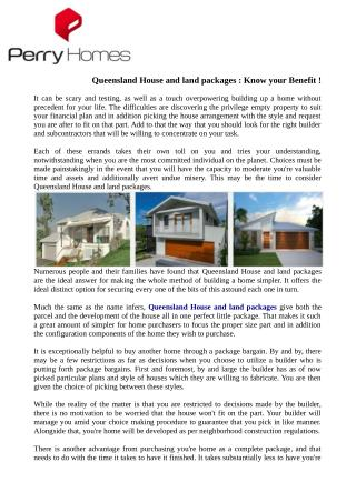 Queensland House and land packages : Know your Benefit !