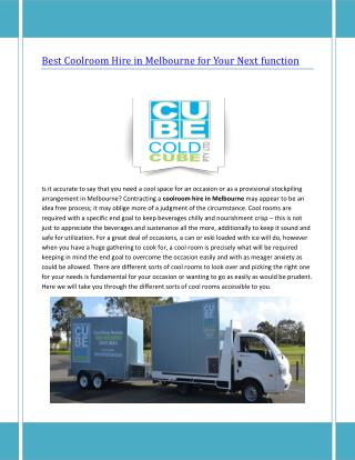 Best Coolroom Hire in Melbourne