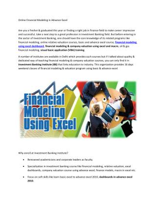 Online Financial Modeling Training