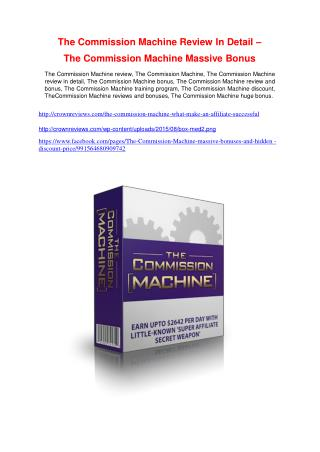 The Commission Machine   review - The Commission Machine   top notch features