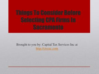 Things To Consider Before Selecting CPA Firms In Sacramento