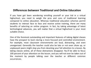 Differences between Traditional and Online Education
