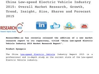 China Low-speed Electric Vehicle Industry 2015 Market Research Report