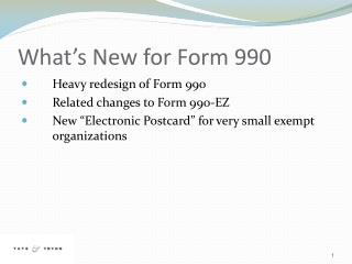 What's New for Form 990