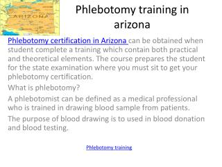 Phlebotomy training in arizona - Phlebotomy Certification