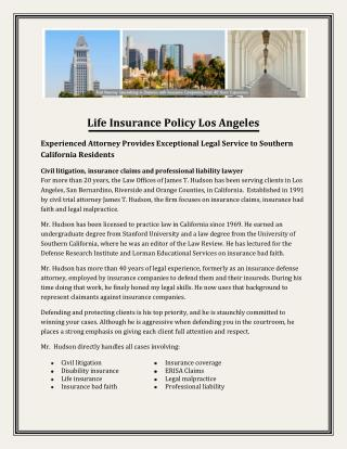 Life Insurance Policy Los Angeles