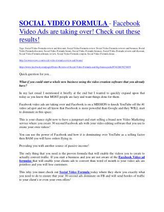 Social Video Formula review and (Free) $21,400 Bonus & Discount