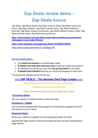 Zap Deals review & bonuses - cool weapon