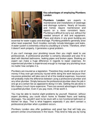 Key advantages of employing Plumbers London