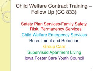 Child Welfare Contract Training – Follow Up (CC 833)