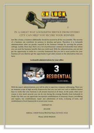 In A Great Way Locksmith Service From Studio City Can Help You Secure Your Business