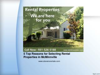 5 Top Reasons for Selecting Rental Properties in McMinnville