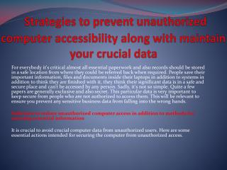 Strategies to prevent unauthorized computer accessibility along with maintain your crucial data