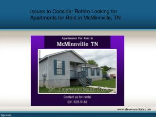 Issues to Consider Before Looking for Apartments for Rent in McMinnville, TN
