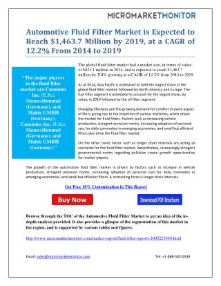 Automotive Fluid Filter Market is Expected to Reach $1,463.7 Million by 2019, at a CAGR of 12.2% From 2014 to 2019
