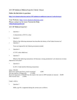 ACC 307 Solution to Midterm Exam