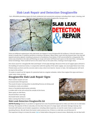 Slab Leak Repair Douglasville GA