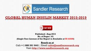 Global Research on Human Insulin Market to 2019: Analysis and Forecasts Report