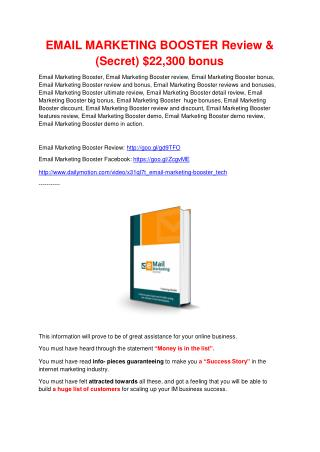 Email Marketing Booster review - EXCLUSIVE bonus of Email Marketing Booster