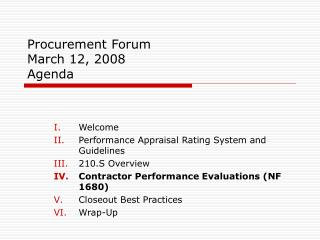 Procurement Forum  March 12, 2008 Agenda