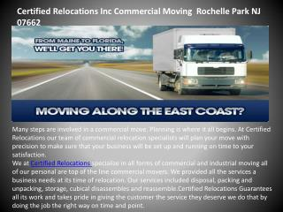 Certified relocations inc commercial moving rochelle park nj