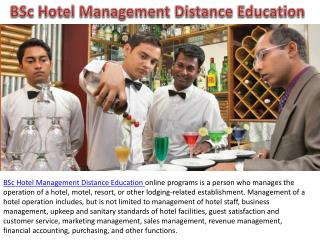 BSc Hotel Management Distance Education