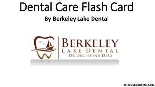 Dental care flash card.