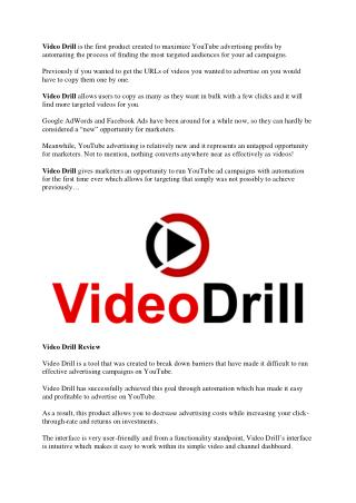 Video Drill Review - Get Exclusive $72,000 Bonus Package Now!! Video Drill Bonus