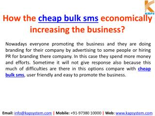 How does the cheap bulk sms economically increasing the business?