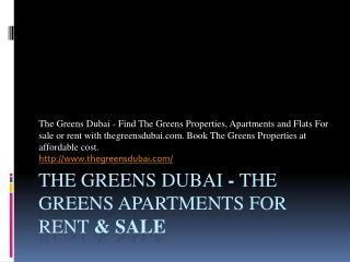 The Greens Dubai - The Greens Property for Sale - The Greens Dubai