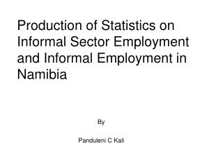 Production of Statistics on Informal Sector Employment and Informal Employment in Namibia