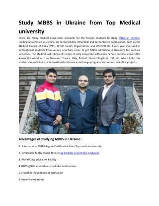 Top Medical Universities to Study MBBS in Ukraine