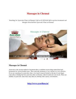 Massages in Chennai