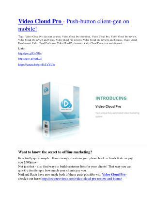 Video Cloud Pro Review - Video Cloud Pro DEMO & BONUS