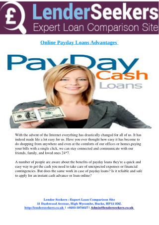 Online Payday Loans Advantages